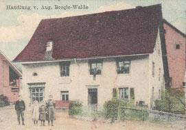 Die Handlung Brogle war bis 1978 in Betrieb. (Ausschnitt aus einer Postkarte von ca. 1914)