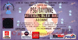 Ticket  Bayonne-PSG  2003-04