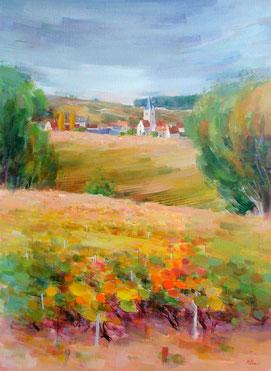 VILLEDOMMANGE (huile sur toile) 100 x 73 cm JF.Millan  (collection privée)