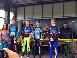 2ème Clément Castor 3ème Pierre Dedieu (Benjamin) Cyclo-cross à Montauban Abattoirs (82) le 11 Novembre 2016