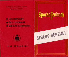 Sparkassenbuch - streng geheim! Werbung für das anonyme Sparbuch in Österreich (1960er Jahre). Prospekt von Heinz Traimer.