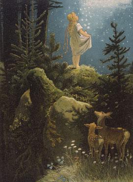 In den meisten Seminaren arbeiten wir meditativ mit Märchen, und zwar mit Volksmärchen aus aller Welt und den Märchen der Brüder Grimm.