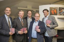 Univ.-Prof. Dr. Horst Steiner, Landeshauptmann Dr. Wilfried Haslauer, Dr. Wernfried Gappmayer, Dr. Tobias Jäger, Dr. Robert Gruber (v.l.n.r.)