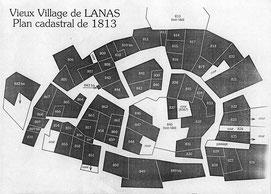 Plan redessinné d'après le cadastre de Napoléon en 1813.