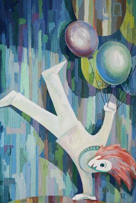 "Prihodko Marina, ""White Clown"", Öl auf Leinwand, 90 x 60 cm, 2011, gerahmt"