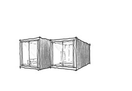 Small footprint home design 2, 3D outside sketch by Heidi Mergl Architect