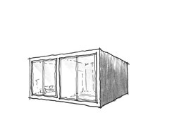 Small footprint home design 1, 3D outside sketch by Heidi Mergl Architect