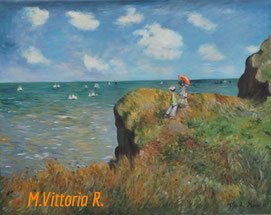 clifftop walk at Pourville, C. Monet, cm 40x50- 2016 private collection