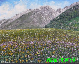IN MOUNTAIN OIL PAINTING  ON CANVAS CM 40X50