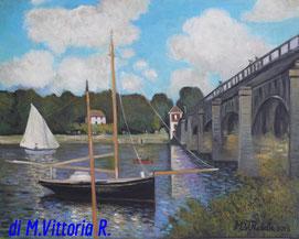 Ponte a Argenteuil, copia d' autore C.Monet, olio su tela cm 40x50, 2013