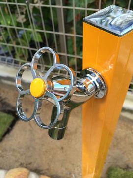 蛇口 花ハンドル かわいい立水栓 立水栓取り換え 広島