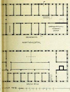 Bild 1: Grundrisse des Martini-Hospitals