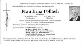Erna Pfeifer, verh. Pollach, geb in Großgraben 1928