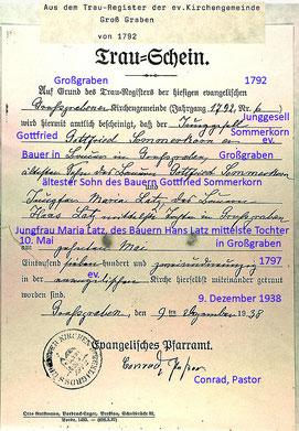 Heirat Gottfried Sommerkorn u. Maria Latz 1792