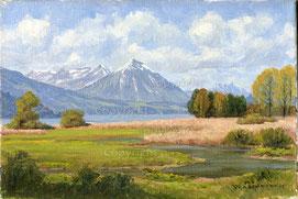 Nr.0688;  Weissenau b. Unterseen mit Niesen und Stockhorn