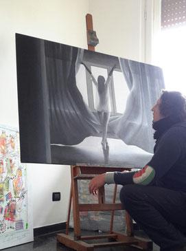 In studio, maggio 2017, durante i preparativi della mostra personale  REALFANTASY