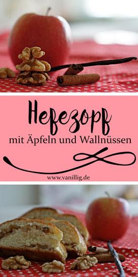 Hefezopf mit Äpfeln und Walnüssen