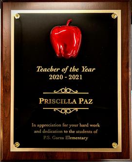 Teacher of the Year Award Plaque - 3-D Apple Mount