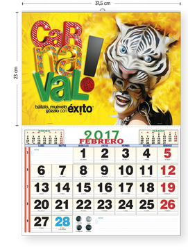 Calendario cartela personalizada todo color (31,5 cm)