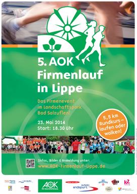 Plakat des AOK Firmenlauf in Lippe