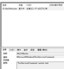 タスクスケジューラで実行中のMsCtfMonitor