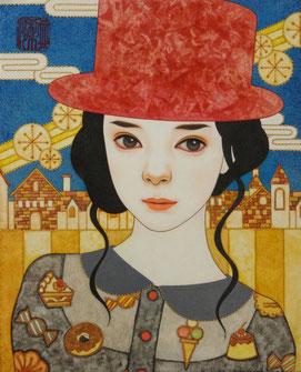 「そっとうたう」 日本画 F3