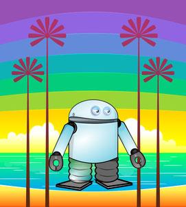 Immagine spiaggia e robot