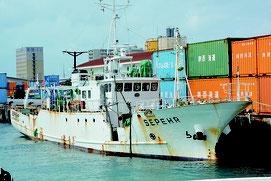 川平湾から離礁し、石垣港に接岸されたモンゴル船籍の船=14日午後