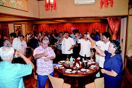 甘しょ拠点産地認定を祝う祝賀会が開かれた=28日夕、市内飲食店