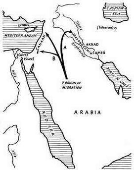 Mapa que muestra el origen geográfico de los pueblos semíticos y las rutas que siguieron sus migraciones.