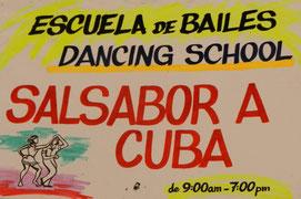 Eingangsschild der Tanzschule Salsabor a Cuba