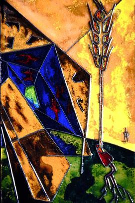 Hände legen Samenkörner der Liebe in fruchtbaren Boden - Das Samenkorn schlägt Wurzeln. Eine Weizenähre wächst daraus, die Trauer und Dunkelheit des Grabes ist überwunden.