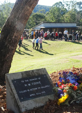 Looking from the Cooke memorial tree to the Eumundi ANZAC Day commemoration 2016