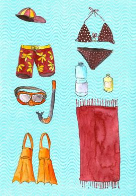 Grußkarte Sommer Strand Baden