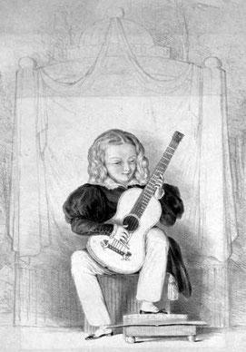 Giulio Rigondi als neunjähriges Wunderkind im Royal Adelphi Theatre in London, 1831.