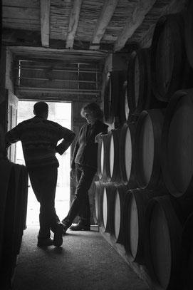 Benoit Louvet in the Claque-Pepin Calvados cellars