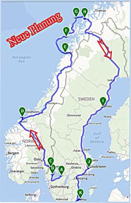 ...unsere neue Planung! Ausschlaggebend die aktuelle Wetterkarte! Route gedreht!