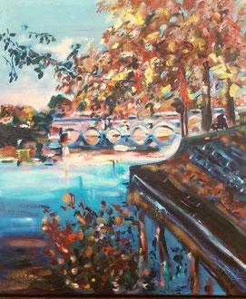 Toulouse en automne, peinture à l'huile