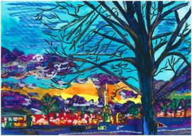Sous le ciel des Tuileries, pastel gras et encre, Claire ALLARD