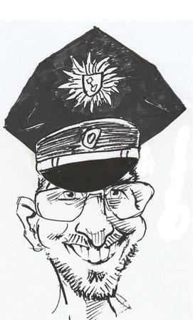 Kontaktpolizist Thomas Kothe als Karrikatur - Bild auf der Einladung zur Abschiedsfeier
