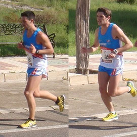 Manuel Díaz, a la izq.de la imagen, y Jesús Manuel Lara a la der. de la misma, afrontando la dura subida del final de la prueba.