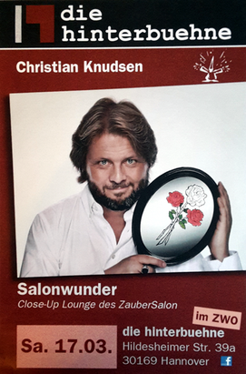 "Plakat für Solo in der ""Close Up-Lounge"" - Christian Knudsen, Zauberer in Hamburg"