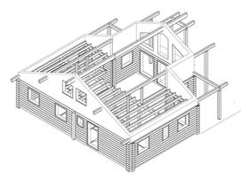 Wohnblockhaus - Zeichnung - Werkplanung - CAD Zeichnung - Blockhausbau - Blockbau