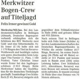 Artikel - LM FITA 29.06.08 in Wörlitz - BSV Merkwitz