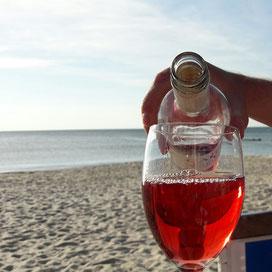 Rose trinken am Strand von Westerland