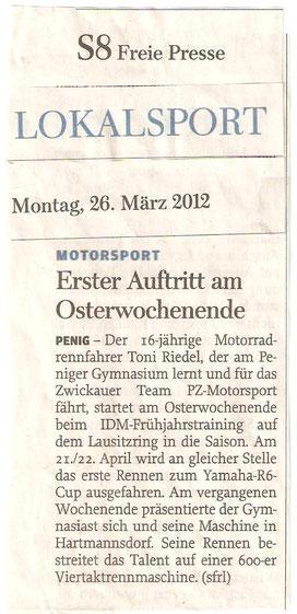 Toni Riedel, Freie Presse, IDM Training, Osterwochenende