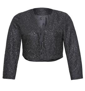 elegante Plus Size Spitzenbolero schwarz Gr 48