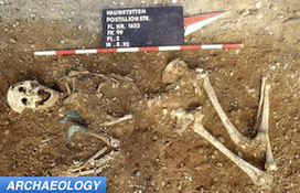 Skeleton from Bronze Age Europe archaeology dig