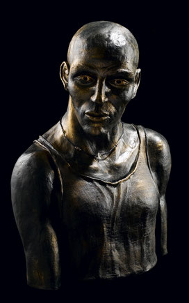 sculpture, terre cuite, argile, patinée, ethnique personnage