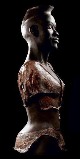 culpture, terre cuite, argile, patinée, ethnique personnage, Afrique
